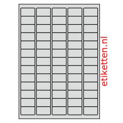 38 x 21 mm 50 vellen per doos 65 etiketten per vel ALUMINIUM