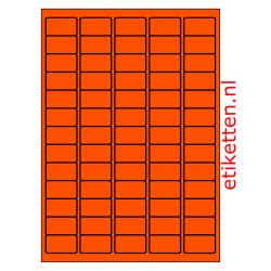 38 x 21 mm 100 vellen per doos 65 etiketten per vel ORANJE FLUOR