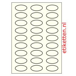 50 x 25 mm 100 vellen per doos 27 etiketten per vel OVAAL IVOOR