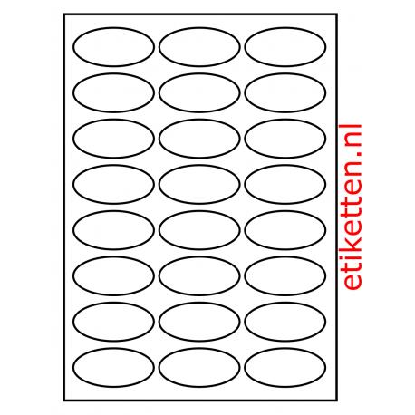 63 x 31 mm 24/A4 OVAAL Glans  100 vel per doos Wit