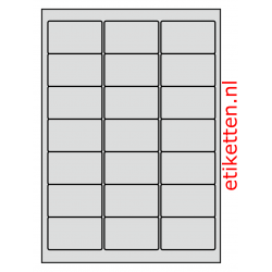 63 x 38 mm 50 vellen per doos 21 etiketten per vel ALUMINIUM