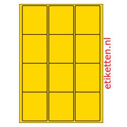 63 x 72 mm 100 vellen per doos 12 etiketten per vel GEEL