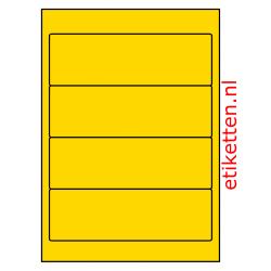192 x 62 mm 100 vellen per doos 4 etiketten per vel GEEL