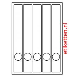 Etiketten voor smalle ordners met gat 100 vellen per doos 5 etiketten per vel WIT