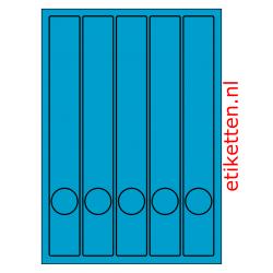 Etiketten voor smalle ordners met gat 100 vellen per doos 5 etiketten per vel BLAUW