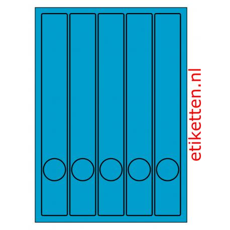 Rug-etiketten voor smalle ordner met gat 100 vel p.doos BLAUW