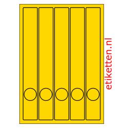 Etiketten voor smalle ordners met gat 100 vellen per doos 5 etiketten per vel GEEL