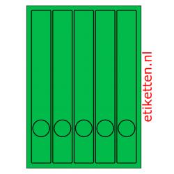 Etiketten voor smalle ordners met gat 100 vellen per doos 5 etiketten per vel GROEN