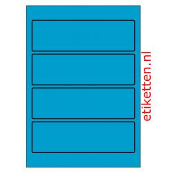 Etiketten voor brede ordners zonder gat 100 vellen per doos 4 etiketten per vel BLAUW