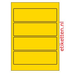 Etiketten voor brede ordners zonder gat 100 vellen per doos 4 etiketten per vel GEEL