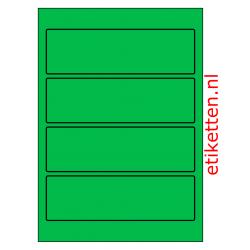Etiketten voor brede ordners zonder gat 100 vellen per doos 4 etiketten per vel GROEN