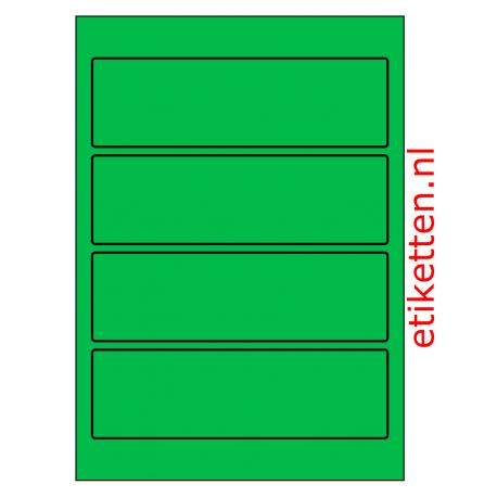 Rug-etiketten voor brede ordners zonder gat  100 vel p.doos GROEN