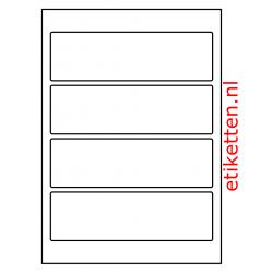 Etiketten voor brede ordners zonder gat 100 vellen per doos 4 etiketten per vel WIT