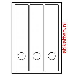 Etiketten voor brede ordners met gat 100 vellen per doos 3 etiketten per vel WIT
