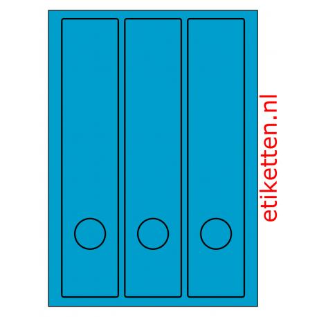 Rug-etiketten voor brede ordners + gat  100 vel p.doos BLAUW