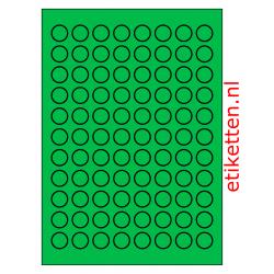 20 mm Rond 100 vellen per doos 88 etiketten per vel GROEN