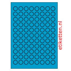 20 mm Rond 100 vellen per doos 88 etiketten per vel BLAUW