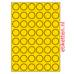 30 mm Rond 100 vellen per doos 48 etiketten per vel GEEL