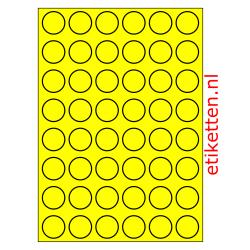 30 mm Rond 100 vellen per doos 48 etiketten per vel GEEL FLUOR