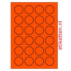 40 mm Rond 100 vellen per doos 24 etiketten per vel ORANJE FLUOR