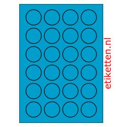 40 mm Rond 100 vellen per doos 24 etiketten per vel BLAUW