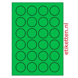 40 mm Rond 100 vellen per doos 24 etiketten per vel GROEN