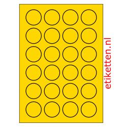 40 mm Rond 100 vellen per doos 24 etiketten per vel GEEL