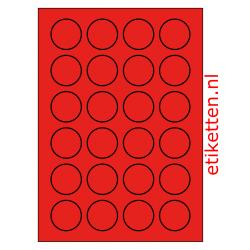 40 mm Rond 100 vellen per doos 24 etiketten per vel ROOD