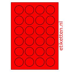40 mm Rond 100 vellen per doos 24 etiketten per vel ROOD FLUOR