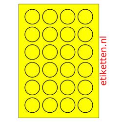 40 mm Rond 100 vellen per doos 24 etiketten per vel GEEL FLUOR