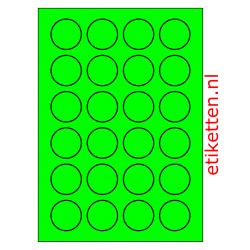 40 mm Rond 100 vellen per doos 24 etiketten per vel GROEN FLUOR
