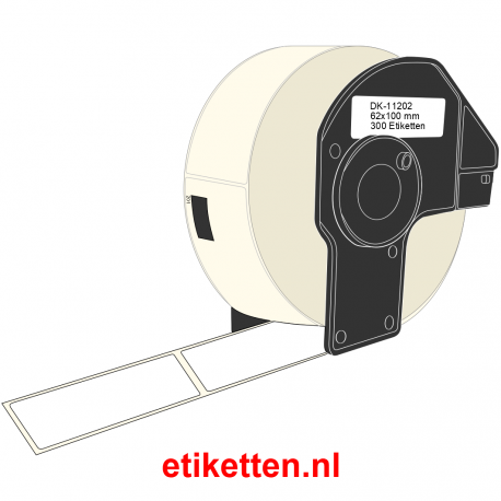 DK-11202 Brother Labels 62 x 100 mm INCLUSIEF HOUDER