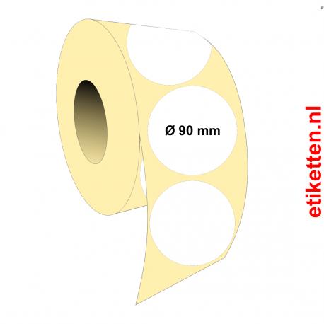 Rol etiketten Rond 90 mm 1.750 per rol PAPIER GLANS