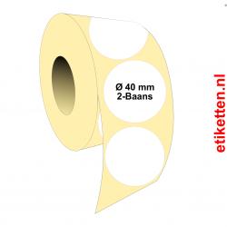 Rol etiketten Rond 40 mm 2x 4.000 per rol PAPIER GLANS