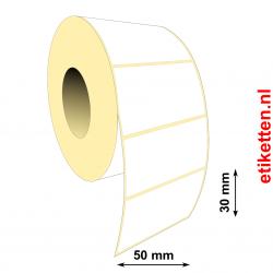 Rol etiketten 50 x 30 mm 3.000 per rol PAPIER GLANS