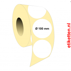 Rol etiketten Rond 100 mm 1.750 per rol POLYJET GLANS