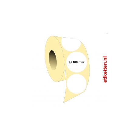Rol etiketten Rond 100 mm 1.750 per rol POLYJET MAT
