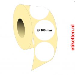 Rol etiketten Rond 100 mm 1.750 per rol POLYJET SATIJN
