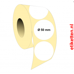Rol etiketten Rond 50 mm 2.500 per rol POLYJET GLANS