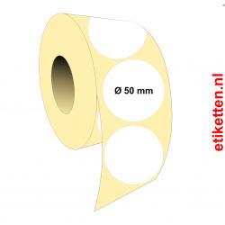 Rol etiketten Rond 50 mm 2.500 per rol POLYJET SATIJN