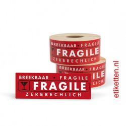 Fragile etiketten 50x150 mm. Per rol: 500