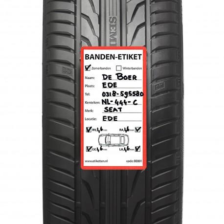 ROLLEN etiketten autobanden 80x150 mm BEDRUKT  500 per rol kern: 40 mm TYRE Label