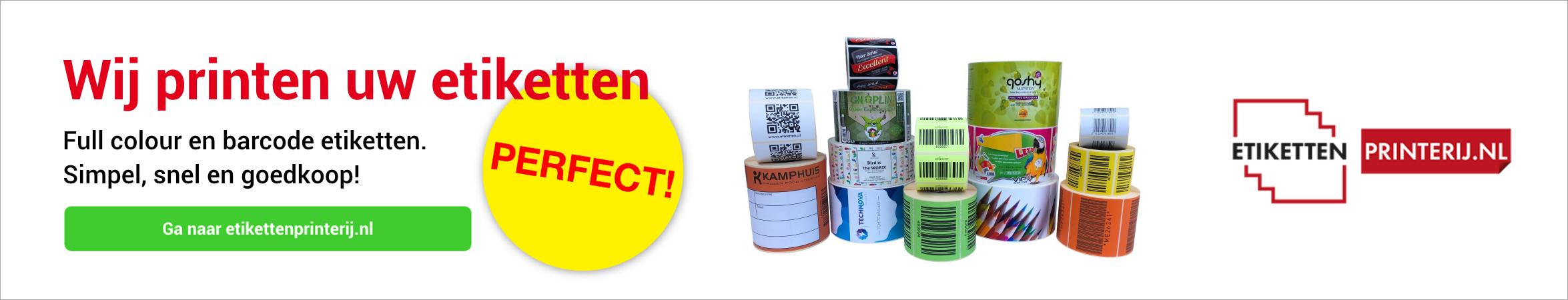 Etikettenprinterij.nl. Etiketten laten printen. Full colour en barcode